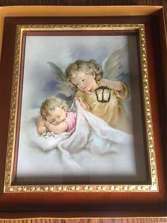Vintage nursery, sleeping baby, guardian angel, picture, gold leaf trim, wall hanging, table top display by Antiquesnew2you on Etsy