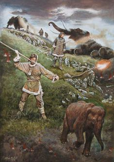 Libor Balák - Mammoth hunting on a slope, Pavlovian Culture