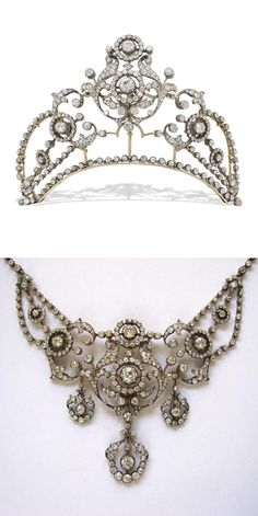 A diamond belle epoque tiara necklace combination, circa 1880. This features ornate diamond open-work foliate scrolls, with two graduating clusters of diamonds supporting the third central panel. All rising from a band of old-cut diamonds.