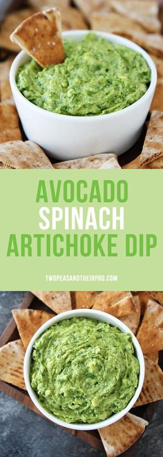 Avocado Spinach Artichoke Dip is the perfect dip for parties, potlucks, game day, and every day snacking. It is vegan, gluten-free, dairy-free, and SO delicious! Serve with pita chips, crackers, or cut up vegetables. Everyone loves this easy and healthy dip!