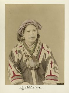 "Ainu woman from ""Views of people, landscapes and temples of Japan"", ca. 1880-90s"