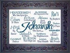 Jehovah - names of God cross stitch.how pretty is this? Jehovah Names, Names Of God, Embroidery Stitches Tutorial, Crewel Embroidery, Machine Embroidery, Embroidery Ideas, Counted Cross Stitch Patterns, Cross Stitch Designs, Cross Stitching