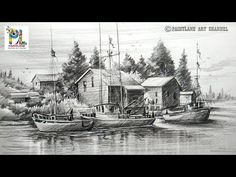 "Face Drawing How to Draw Old Sailboat Yard Landscape with Pencil For Beginners, Step by Step – Hildur.O - Video by PAINTLANE This video is all about the ""How to Draw Old Sailboat Yard Landscape with Pencil For Beginners Pencil Sketches Landscape, Landscape Drawings, Landscape Paintings, Landscape Bricks, Pencil Shading Scenery, Drawing Scenery, Pencil Drawings For Beginners, Pencil Drawing Tutorials, Drawing Ideas"
