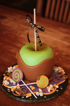 How luscious is this caramel apple cake? It looks so real I'm tempted to take a bite just for authenticity's sake.