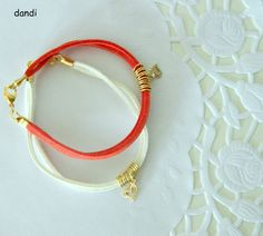 suede cord and heart Pendant braceletGold by dandiallmyheart, ₪59.00