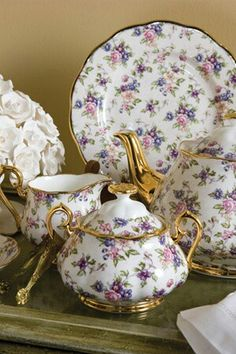 Royal Albert- Tea Set with Gold Trim; 1940s English Chintz