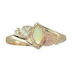 Black Hills Gold Tricolor 10K Marquise Opal Ring