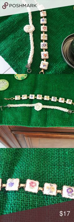 Set of 2 vintage bracelets One has square white stones with different color spring flowers.  The other has small pearls with circle twist in center.  Bracelet is a pearls even on other side.  Both have clasp fastenings. Bundle discount offered. Can be priced separate if interested. Jewelry Bracelets