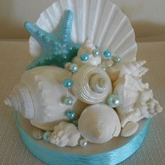 Beach Wedding Cake Topper, Starfish and Shells, Beach Wedding Decor, Wedding Decor,