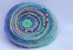 Felted Wool Blue Multicolor Spiral Brooch Pin by ohARTfelt on Etsy, $6.95