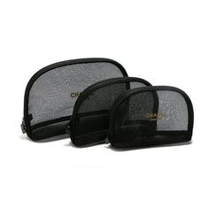 0c2835a6b98578 3pcs set CHANEL Beaute Black Mesh Makeup Bags Cosmetic Pouches VIP Gift