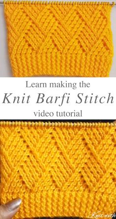This knit Barfi stitch pattern is both a beautiful rhombus stitch that makes a lovely square! There are unlimited knitting projects that you can make with this stitch. HOW DO MAKE THE BARFI STITCH KNI Knitting Stiches, Knitting Patterns Free, Knit Patterns, Free Knitting, Crochet Stitches, Knit Crochet, Stitch Crochet, Knitted Squares Pattern, Kids Knitting