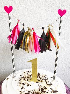 Cake Topper  | Tassel Cake Topper | Tassel Garland Cake Topper | Birthday Cake Topper | Tassel Garland | Spade Theme Cake Topper | Bridal Shower | Baby Shower | Bachelorette Party by CMCraftStudio on Etsy Tassel Garland, Tassels, Pink Gold Birthday, Birthday Cake Toppers, Themed Cakes, Baby Shower, Bridal Shower, Pink And Gold, Tea Party