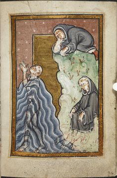 Miniature of (lower left) Cuthbert praying in the sea, and, after he has finished (lower right), otters coming to warm and dry his feet with their breath and fur, while (above), another monk secretly watches the miracle, from Chapter 10 of Bede's prose Life of St Cuthbert,England (Durham), 4th quarter of the 12th century,Yates Thompson MS 26, f. 24r