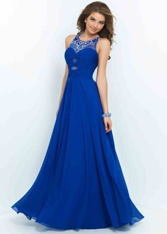 Long Flowy Sapphire Scoop Neck Beaded Cutouts Ruched Prom Dress