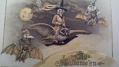 Rare John Winsch Halloween postcard, Schmucker design, Witch riding an Owl. $200.00, via Etsy.