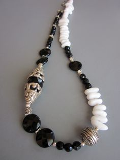 Snow Capped Onyx Sterling Silver necklace.