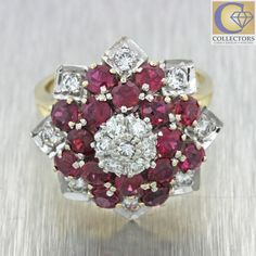 Vintage Estate 14k Solid Yellow Gold 2.05ctw Diamond Ruby Star Flower Ring