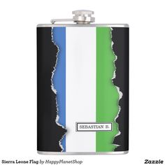 Sierra Leone Flag Flask
