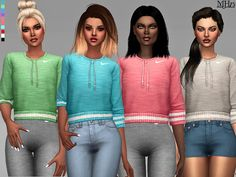 -Some cute crop tops with nike logo and pull strings. Found in TSR Category 'Sims 4 Female Everyday' Sims 4 Cc Skin, Sims Cc, Cc Top, Sims 4 Cc Kids Clothing, Nike Pullover, Crop Top Outfits, Sims 4 Cc Finds, Cute Crop Tops, Sims Resource
