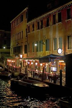 Canalside Cafe on a Winter's Night, Venice Italy via flickr