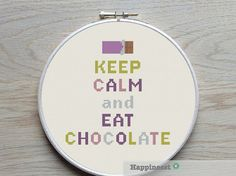 modern cross stitch pattern quote keep calm and eat by Happinesst