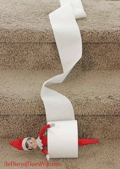 Elf rolling down the stairs