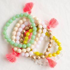 Boho Chic Tassel Bracelet , Colorful Beaded Bracelet, Beaded Bracelet, Tassel Bracelet, Bohemian Tas Tassel Bracelet, Beaded Bracelets, Boho Chic, Bohemian, Czech Glass Beads, Stretch Bracelets, Blush Pink, Favorite Color, Tassels