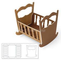 Sizzix ScoreBoards XL Stanzschablone Cradle, 3-D Babywiege, AFS-Trend