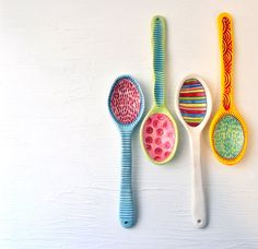 Decorative Art Spoon Colorful Serving Spoon White by chARiTyelise, $42.00