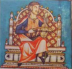 VIHUELA DE ARCO (Cantiga 100) La vihuela es el antepasado directo de violines y violas. También llamada viola de arco, fídula o fidel. Consta de un cuerpo y mango. El cuerpo está formado por dos tapas: la superior más fina y la inferior mas gruesa, unidas ambas por aros. El mango de una sola pieza, plano y corto, encajado en el cuerpo. Las clavijas dispuestas de frente en un clavijero plano. Tiene entre tres y cinco cuerdas. La forma de tocarla es muy variada. La de la ilustración, sobre…