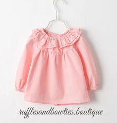 PRE ORDER - European Baby Girl Blouse/Shirt Ruffles Neck Long Sleeve Button Up Shirt Pink Or White - Kids Fall Clothes - Baby Fall Blouse - Blouse for Layering