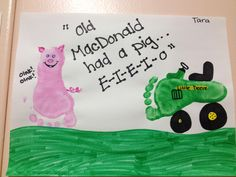 Old McDonald Art | Pig Footprint | Tractor Footprint #kidscraft #preschool