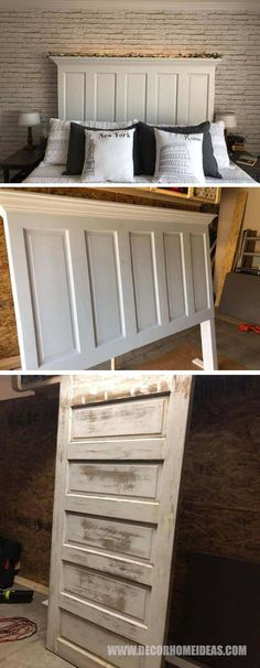 Old Door Turned Into Headboard #furniture #headboard #olddoor #decorhomeideas