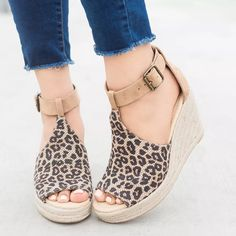Shoes - New Fashion Ladies Comfortable Peep Toe Wedges Platform Sandals Ankle Strap Wedges, Wedge Sandals, Wedge Shoes, Sandals Platform, Espadrille Sandals, Peep Toe, Stilettos, High Heels, Espadrilles