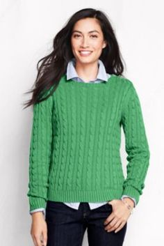 Women's Long Sleeve Drifter Cable Crew Sweater from Lands' End