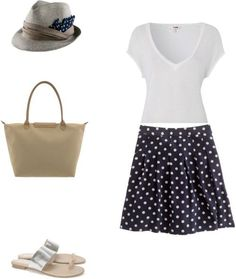 coastal prep: polka dot skirt, matching fedora, Longchamps bag, silver sandals...