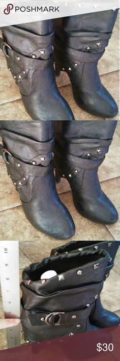 BKE Boots reduced BKE Boots look biker style with studs and a strap. A must have for your closet! BKE Shoes Heeled Boots