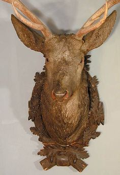 buy antique deer heads, stag heads and other trophys direct from the south of germany. in our gallery you'll find a selection a fine rustic and black forest antiques. Wood Deer Head, Deer Heads, Stag Head, Western Furniture, Log Furniture, Furniture Design, Rena, Faux Taxidermy, Wedding Tattoos