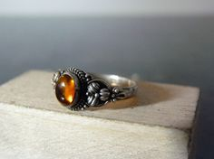 Vintage Silver Dainty Ornate Amber Ring by FourSailAccessories, $16.00