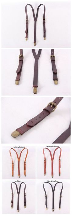 Genuine Leather Suspenders / Groomsman Wedding Suspenders in Coffee