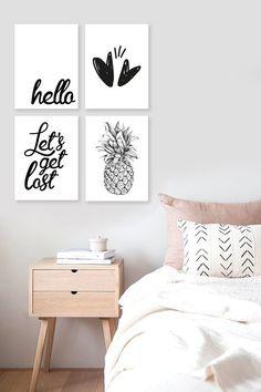 Cuadros modernos para dormitorio minimalista. Cuadros en blanco y negro. #cuadrosmodernos #cuadrosdormitorio