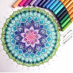 Make your Mandalas Colorful by using STABILO #Point88 👍🏻 Thanks @art.melody for sharing this awesome work 😊