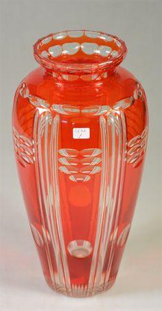 Val Saint-Lambert vase modèle 'Viennois' - cristal clair doublé Aurore - Joseph Simon +/- 1925 -1930.