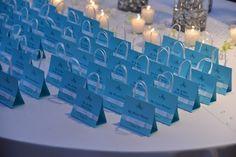 Tiffany Theme Blue Shopping Bag Bat Mitzvah Place Cards {Westminster Hotel, Brad Photographers} - mazelmoments.com