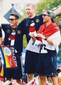 Mesut, Per and Lukas Berlin celebration !!! Arsenal guys!!! July 15, 2014 WC