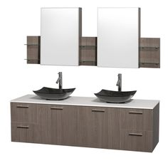 Wyndham Collection Amare 72-inch Double Vanity in Oak with White Stone Countertop/ Medicine Cabinet inet