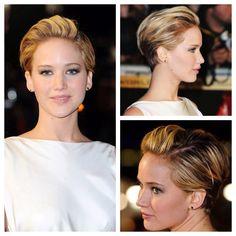Jennifer Lawrence - pixie styled like a sleek updo.