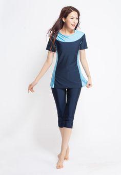 Muslim Women Modest Swimwear Islamic Short Sleeve Tops+Pants Swimming Swimsuit | eBay