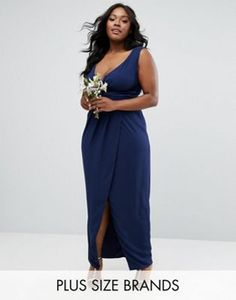 TFNC Plus Wedding Wrap Front Maxi Dress With Wrap Skirt